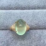 Natural green prehnite gem Ring Natural gemstone Ring S925 <b>sterling</b> <b>silver</b> trendy big luxurious round women girl gift <b>Jewelry</b>