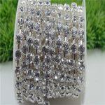 6/8mm Top Quality Sparkle Crystal Clear Rhinestone Handmade Silver Strong Chain <b>Jewelry</b> <b>Making</b> ss28-ss38 10yards