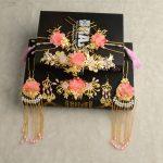 new pink flower tassle hairpins comb sets headdress costume Chinese Coronet bride tiara for <b>wedding</b> hair <b>jewelry</b> wholesale