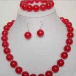 Women's Wedding Charming!10mm red gem necklace bracelet earring set >AAA GP Bridal wide watch wing moda real silver-<b>jewelry</b>