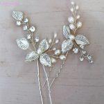 Jonnafe Silver Color Leaf Hair Pins Set Freshwate Pearls Bridal Hair <b>Jewelry</b> Wedding Accessories <b>Handmade</b> Women Headpiece