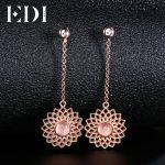 EDI Fashion Flower Natural Rose Quartz Crystal 925 Sterling <b>Silver</b> Drop <b>Earrings</b> For Women Fine Jewelry