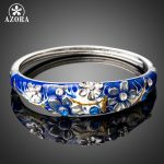 AZORA Blue Oil Painting Pattern Flower Bangle For Women Female Crystal Bracelets & Bangles Mixed Color <b>Fashion</b> <b>Jewelry</b> TB0094