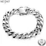 MetJakt Masterpiece 100% 925 Sterling <b>Silver</b> Men's <b>Bracelet</b> & 12mm Wide Whip Double Buckle Chain <b>Bracelet</b> for Biker Men Jewelry