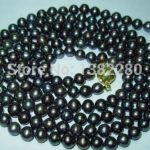 7-8mm Black pearl necklace 55inch DIY handmade women <b>jewelry</b> <b>making</b> design wholesale and retail