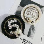 SONGDANWYF Luxury Metal Enamel Pin Button Letter Tassel Simulated Pearl Collar Lapel Pin Badges Kpop <b>Jewelry</b> Jacket <b>Accessories</b>