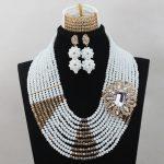 2016New Mix White and Gold Lace Fabrics <b>Handmade</b> Crystal <b>Jewelry</b> Set Full Beads Bib Engagement Jewellery Set Free ShippingABL729