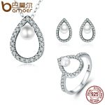 BAMOER Real 925 Sterling <b>Silver</b> Glittering Water Droplet <b>Necklace</b> Earrings Ring Jewelry Sets Wedding Engagement Jewelry ZHS047