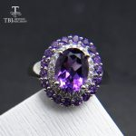 TBJ, Natural Amethyst Ring 3ct oval 7*9mm Brand <b>Jewelry</b> Ladies 925 sterling <b>silver</b> high quality engagement gift Ring anniversary