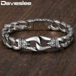 Mens Bracelet 316L Stainless Steel Silver Color Curved Curb Link Chain Bracelets for Men Davieslee Wholesale <b>Jewelry</b> 15mm HB10