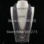 Free Shipping A1092 6Rows Purple CrystL Black Pearls 4-8MM 60-85CM Crystal Fresh Water Pearls <b>Necklace</b> HOT SALE PEARL JEWELRY