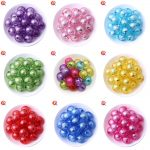 Fashion Kids <b>Handmade</b> DIY Bead <b>Jewelry</b> 20MM 100Pcs/Lot Round Foiled Beads Mix Color Acrylic Bead In Bead For Decoration