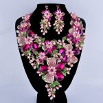 Fuchsia Rhinestone Golden Plated Flower Statement <b>Necklace</b> Set Pink Simulated Pearl Plant Bridal Wedding Party Pearl <b>Jewelry</b> Set