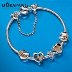 DORAPANG Genuine European Style 100% 925 <b>Sterling</b> <b>Silver</b> Crystal Lovely Charm Bracelet for Women DIY Beads Fishion <b>Jewelry</b>