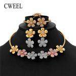 CWEEL Women <b>Jewelry</b> Set Wedding Gold Color African Beads <b>Jewelry</b> Set Imitation Crystal Flower Earings Fashion Indian Jewellery