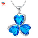 YHAMNI Fashion 925 Sterling <b>Silver</b> <b>Necklace</b> Jewelry Romantic Blue Austrian Crystal Heart Clover Pendant <b>Necklace</b> for Women YN177