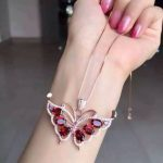 natural red garnet pendant 925 <b>Sterling</b> <b>silver</b> Natural gemstone Pendant Necklace trendy Cute lovely Butterfly fly women <b>jewelry</b>