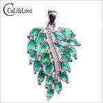 Luxury emerald pendant 20 pcs 2*4mm natural emerald pure 925 <b>sterling</b> <b>silver</b> emerald leaf pendant fashion emerald <b>jewelry</b> for