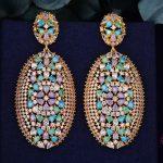 GODK 62mm Luxury Exclusive Multicolor Cubic Zirconia African <b>Wedding</b> Women Dress Earring Fashion <b>Jewelry</b>