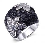 New Women's Big Cocktail Rings Black & White Contrast Colors Party ring setting with Cubic Zirconia Drop ship <b>Jewelry</b>