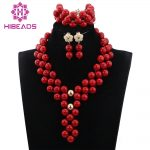 Romantic New Lady Party Event Charms <b>Jewelry</b> Set <b>Handmade</b> Chunky Beaded Red African <b>Jewelry</b> Necklace Set Free Shipping ABH342