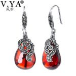 V.YA Nature Style Red Stone Earrings 925 Sterling Silver Water Drop Earrings Vintage <b>Jewelry</b> For Women Female Mother Gifts