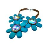 Bohemia style <b>handmade</b> woman necklace 3 blue flowers pendant crystal & leather & wood Combination female daily elegant <b>Jewelry</b>