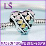 2018 Spring New Real 925 <b>Silver</b> MULTI-COLOUR HEARTS CHARM Fit Original Bracelets&<b>Necklace</b> DIY Gift.Women Wedding Jewelry Beads.Z