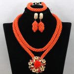 Charms <b>Handmade</b> Coral Bridal Necklace Set Nigerian Beads Wedding Necklace African <b>Jewelry</b> Sets Free Shipping CNR496