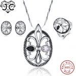 J.C Engagement Jewelry Wedding Bridal Black Pendant & Ring & <b>Earring</b> Genuine Solid 925 Standard Sterling <b>Silver</b> Jewelry Set
