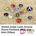 6mm 200pcs AAAAA Grade Round Shape Glitter Beads Cubic Zirconia Stones 3D Nails Art Clothes Decorations DIY <b>Supplies</b> For <b>Jewelry</b>