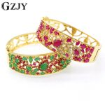 JINYAO Charm Red Green Zircon Bracelets Vintage <b>Jewelry</b> Yellow Pure Gold Color Bracelet Bangle For Women D06-2