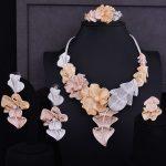 GODKI Luxury Lotus Leaf 3 Tone Mixed Women Wedding Cubic Zirconia <b>Necklace</b> Earring Saudi Arabia <b>Jewelry</b> Set Jewellery Addiction