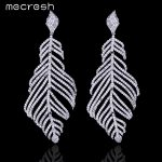 Mecresh Luxury Cubic Zirconia Bridal Long Hanging Earrings Leaf-Shape Big Pendantes Ohrringe 2017 Fashion <b>Wedding</b> <b>Jewelry</b> EH675