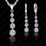 JEXXI Elegant 925 Sterling Silver Austrian Crystal Bridal Wdding <b>Jewelry</b> Set For Women Tassel Long Pendant Necklace Earring Set