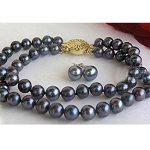 New Black Akoya Cultured pearl 2Row 7-7.5mm Round loose beads <b>making</b> bracelet&Earrings 7.5″ BV103