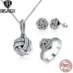 BISAER Authentic 100% 925 Sterling <b>Silver</b> Jewelry Sets Sparkling Love Knot Weave Jewelry Set Sterling <b>Silver</b> Jewelry Accessories