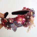 New Baroque Sequins Purple Flower Crown Tiara Tassel Headband Butterfly Wedding <b>Jewelry</b> Hair Accessories <b>Handmade</b> bijoux cheveux