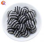 R105 Cordial Design 20MM 100Pcs/Lot <b>Silver</b> Black Chunky Stripe Resin Rhinestone Beads For Colorful <b>Necklace</b> Jewelry CDWB-516072