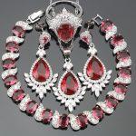 Christmas Red CZ Costume Women <b>Silver</b> 925 Jewelry Sets Bridal Earrings/Rings/Pendant/Necklace/<b>Bracelets</b> Free Gift Box