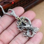 Genuine 925 Sterling <b>Silver</b> Vintage Punk Locomotive King Kong pestle Dragon Cross Pendant For Women Men <b>Necklace</b> Jewelry Thai