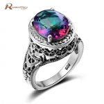 Solid 925 Sterling Silver Cocktail Ring Women Love <b>Handmade</b> Vintage Ring Mystic Rainbow Topaz Crystal Ring Wedding Band <b>Jewelry</b>