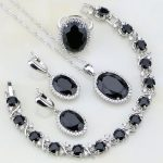 925 Sterling <b>Silver</b> Jewelry Black Cubic Zirconia White Crystal Jewelry Sets Women Wedding Earring/Pendant/Necklace/<b>Bracelet</b>/Ring