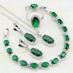 Oval 925 Sterling <b>Silver</b> Jewelry Green Cubic Zirconia White CZ Jewelry Sets For Women Earring/Pendant/Necklace/<b>Bracelet</b>/Ring