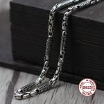S925 Men's Sterling <b>Silver</b> <b>Necklace</b> Personality classics Simple and generous retro series Six words of words tyrants rough mad
