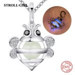 100% 925 sterling silver cute animal little bee glowing necklace&pendant with CZ diy craft fashion <b>jewelry</b> <b>making</b> for women gift