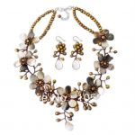 "Stunning Natural Shell & Brown Freshwater Pearl Flower Necklace 4-20mm 18"" 925 Sterling <b>Silver</b> <b>Earrings</b> Fashion Jewelry Set"