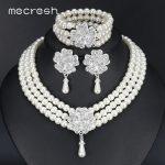 Mecresh Round Imitated Pearl Dubai Bridal <b>Jewelry</b> Sets Statement Wedding Bracelet Earrings Necklace Sets Party <b>Accessories</b> TL371