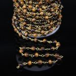 5Meters,6mm Smooth Natural Tiger eye Round Beaded Chains,Bronze Brass Wire Wrapped Link Chains,Bracelet <b>Jewelry</b> <b>Supplies</b>
