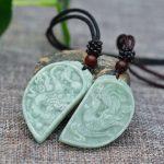 Drop shipping Natural AAA Jadeite Jades Pendant 3D <b>Handmade</b> Carved Chinese Dragon Phoenix Lovers' Pendants Amulet <b>Jewelry</b>+Rope